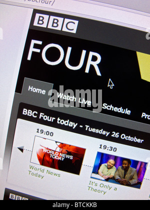 Screenshot from homepage of BBC television channel Four website - Stock Photo