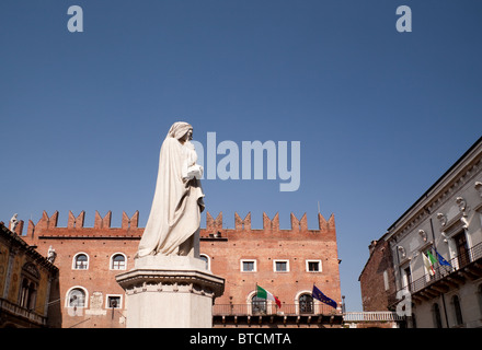 Statue of Italian poet Dante Allighieri in Piazza de Signori Verona Veneto Italy - Stock Photo