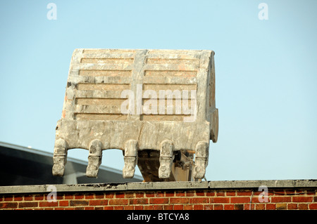 Excavator bucket or scoop against sky London England UK - Stock Photo