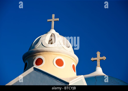 Church Dome and Bell Tower Fira (Thira) Santorini Cyclades Islands Greece - Stock Photo