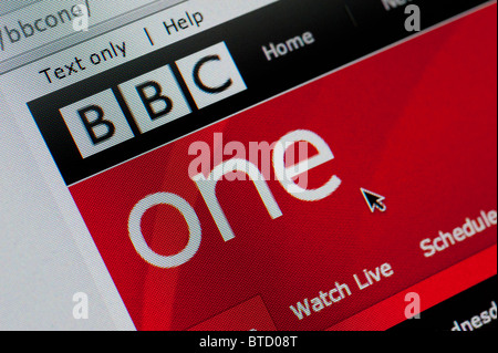 Detail of screenshot from website of BBC One television channel homepage television channel homepage - Stock Photo