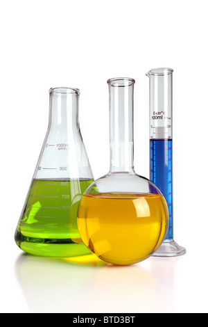 Laboratory glassware with reflections on table isolated over white background - With clipping path on glass - Stock Photo