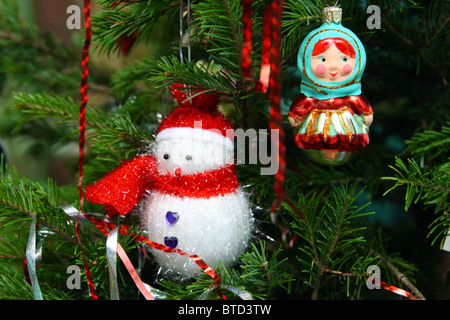 christmas decorations on fir - close-up view - Stock Photo