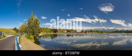 View over the Westchester Lagoon from the Tony Knowles Coastal Trail during Summer, Anchorage, Southcentral Alaska - Stock Photo