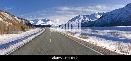 Daytime view of the Richardson Highway along the Delta River just before heading into the Alaska Range, Interior - Stock Photo
