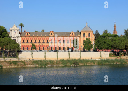 The Palace of San Telmo (1682) from across the River Guadalquivir in Seville, Spain - Stock Photo