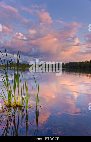View of sunset clouds reflected in  Westchester Lagoon near downtown Anchorage, Southcentral Alaska, Summer - Stock Photo