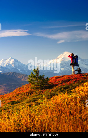 A woman stops to view Mt. McKinley while backpacking in Peters Hills, Denali State Park, Southcentral Alaska - Stock Photo