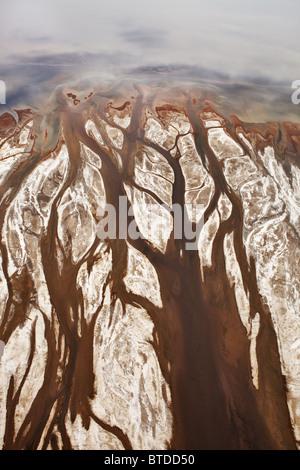 Aerial view of fresh water tributaries flowing into Lake Magadi. Rift valley. Kenya - Stock Photo