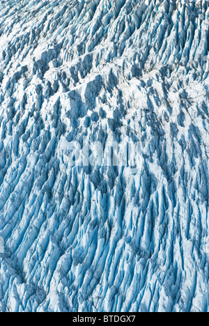 Aerial detail of ice crevasses on Colony Glacier in Matanuska-Susitna Valley, Southcentral Alaska, Fall - Stock Photo