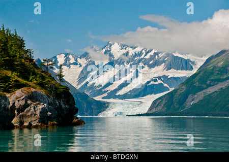 Scenic view of Surprise Glacier from Point Doran, Prince William Sound, Southcentral Alaska, Summer - Stock Photo