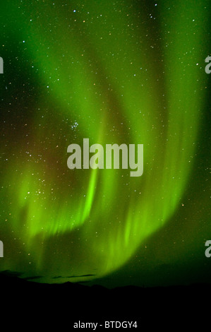 View of Aurora Borealis dancing above Noatak River in Gates of the Arctic National Park and Preserve, Arctic Alaska, - Stock Photo