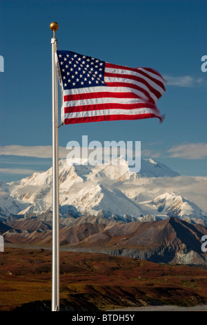 View of American Flag with Mt. McKinley in the background, Denali National Park, Interior Alaska - Stock Photo