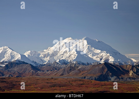 View of Mt.McKinley on a clear day from Eielson Visitor Center, Denali National Park, Alaska, Autumn - Stock Photo