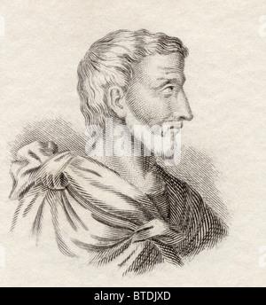 Pythagoras of Samos, c. 570-c. 495 BC. Ionian Greek philosopher and mathematician. - Stock Photo