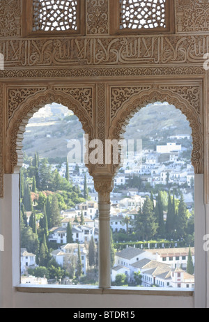 Details of Moorish architecture inside the Alhambra Palace, Granada, Spain - Stock Photo