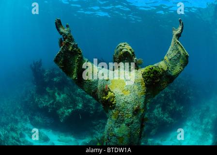 Christ of the Abyss statue off Key Largo coast, Florida, USA - Stock Photo