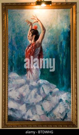 Seville Spain Andalusia antique shop painting Flamenco dancer woman - Stock Photo
