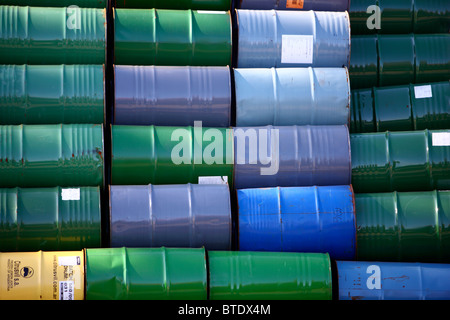 Used steel barrels, in stock. - Stock Photo
