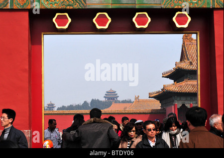 Chinese visitors at the Forbidden City. - Stock Photo
