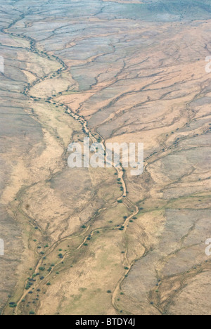 Aerial scenic view of dry river bed showing tributaries - Stock Photo