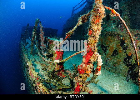 Wreck of USS Spiegel Grove off Key Largo coast, Florida, USA - Stock Photo