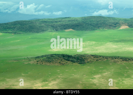 Aerial scenic view of gravel plains and mountains with green flush from recent rains - Stock Photo