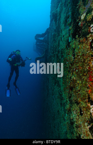 diver at wreck spiegel grove florida usa stock photo royalty free image 18010144 alamy. Black Bedroom Furniture Sets. Home Design Ideas