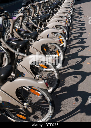 public rental bicycles called Velibon Paris street in France - Stock Photo