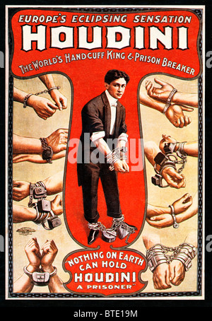 Houdini, 1906 poster for the Worlds Handcuff King and Prison Breaker, the Hungarian-American escapologist supreme - Stock Photo