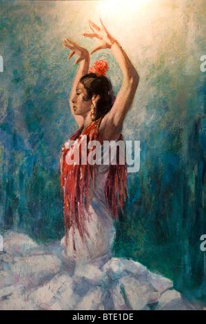 Seville Spain Flamenco dance dancer woman painting - Stock Photo