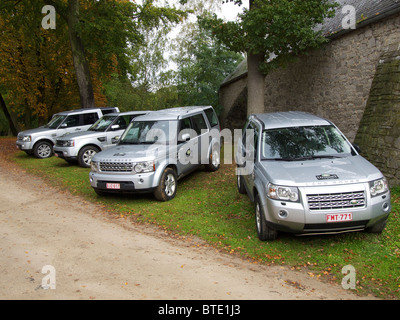 The Land Rover 4x4 offroad car model range at an estate in Belgium - Stock Photo