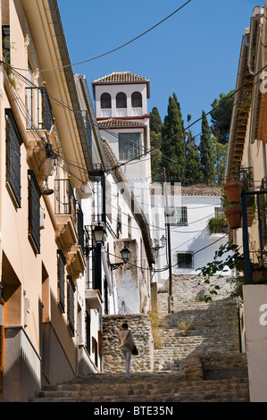 Granada town city historic center Spain Andalusia Murallas del Albaicin - Stock Photo