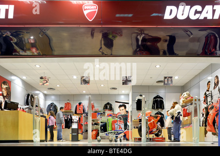 Bologna Ducati shop store in the departures terminal shopping mall at Guglielmo Marconi airport Bologna Italy - Stock Photo