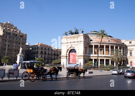 Teatro Politeama Garibaldi, Palermo, Sicily, Italy - Stock Photo