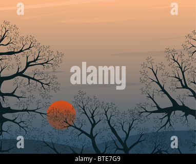 Illustration of a winter sunset with copy-space - Stock Photo