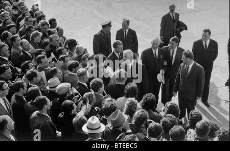 Novosibirsk. French President Charles de Gaulle welcomed at the city's aerodrome. 1966. - Stock Photo