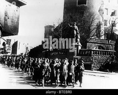 Great Patriotic War. German prisoners of war march through the streets of Konigsberg, 1945 - Stock Photo