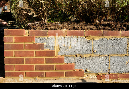 New garden wall with inner concrete blocks and outer red bricks. UK. - Stock Photo