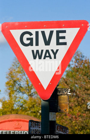 Give Way UK Traffic Sign - Stock Photo