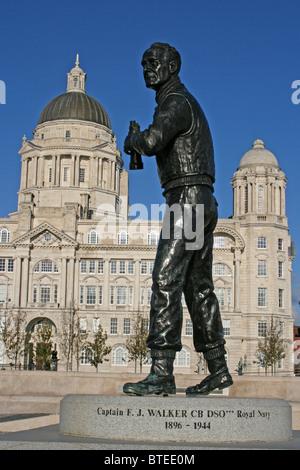 Captain F.J.Walker Statue, Pier Head, Liverpool, uK - Stock Photo