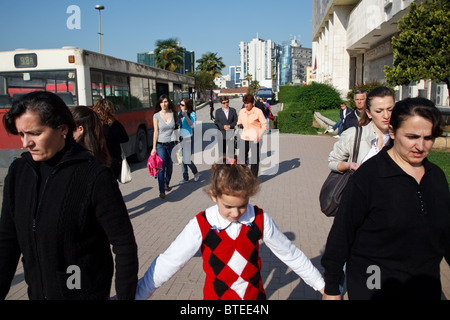A girl goes to school in Tirana, the capital of Albania. - Stock Photo