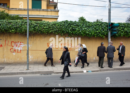 People in the street in Tirana, the capital of Albania. - Stock Photo
