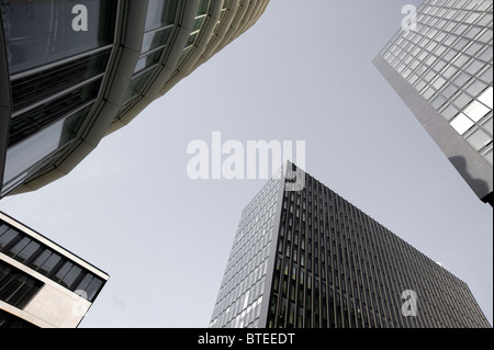 Details of round and angled modern architecture in the Medienhafen in Dusseldorf, Germany. - Stock Photo