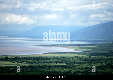 Lake Manyara landscape showing the lake and the side of the African Rift Valley - Stock Photo