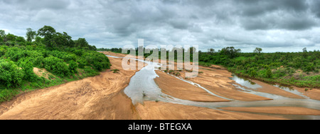 Shingwedzi river bed and some water flowing with thick vegetation on the riverbanks - Stock Photo