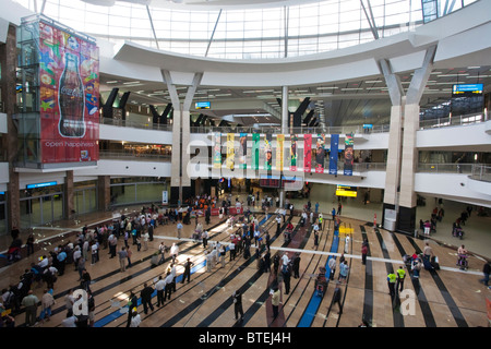 The arrivals hall at Oliver Tambo airport in Johannesburg - Stock Photo
