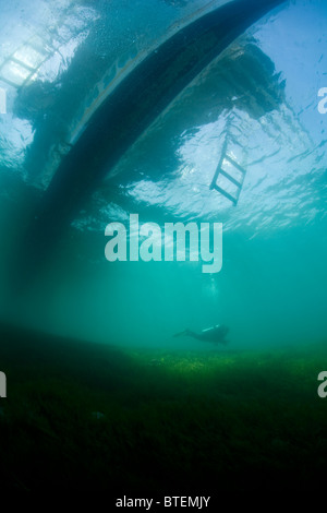 A diver hovers over a sea grass bed, under a dive boat off Cabilao Island, Bohol, Philippines, Pacific Ocean. - Stock Photo