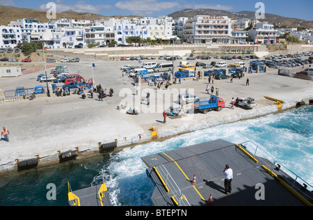Tinos Island, Cyclades, Greece. Roll Off Roll On ferry arriving at Tinos town - Stock Photo