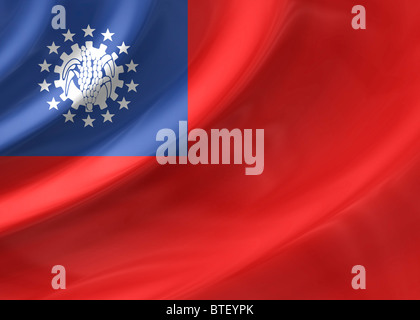 Burma ( Myanmar ) flag - Stock Photo